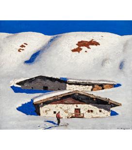 Alfons Walde - Pascoli a Marzo. Stampa su tela