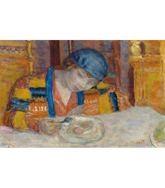 Pierre Bonnard - Young woman at table. Printing on canvas