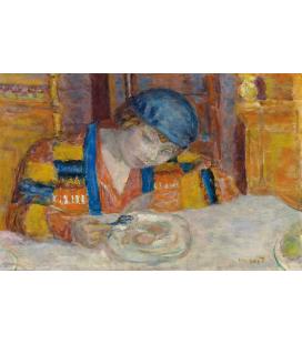 Pierre Bonnard - Giovane donna a tavola. Stampa su tela