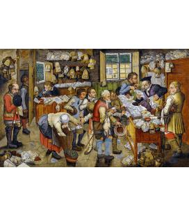 Pieter Bruegel il Giovane - Il pagamento delle decime (Villaggio Avvocato). Stampa su tela