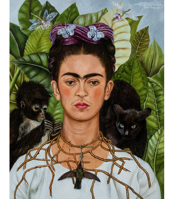 KALO-001 - Kahlo Frida - Self-portrait with necklace of thorns and hummingbirds. Printing on canvas