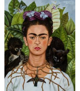 KALO-001 - Kahlo Frida - Autoritratto con collana di spine e colibrì. Stampa su tela