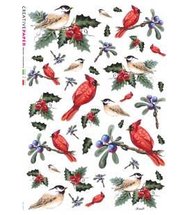 Carta di riso Decoupage: Uccelli con Bacche