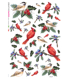 Decoupage rice paper: Birds with Berries