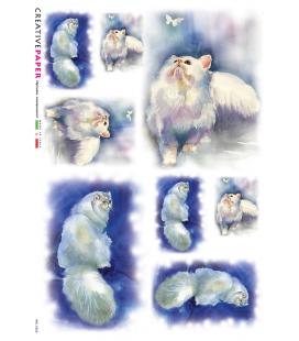 Carta di riso Decoupage: Gatti con Farfalla. Sfondo Blu