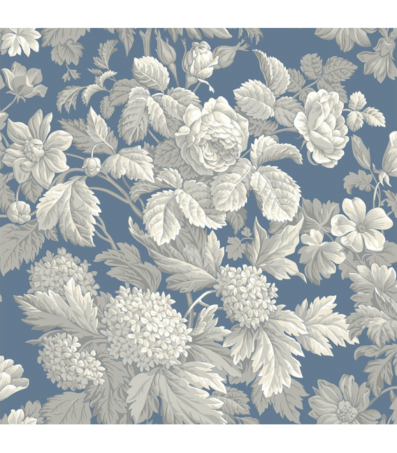 Rice paper for furniture decoration: Flowers in blue color